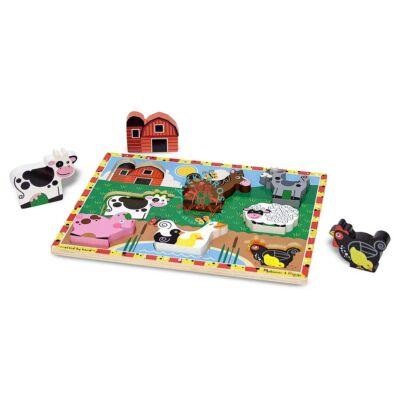 Melissa & Doug fa könnyen megfogható puzzle farm