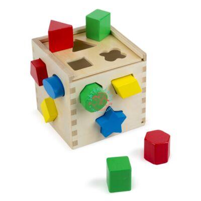 Melissa & Doug Fa készségfejlesztő játék, Formarendező kocka