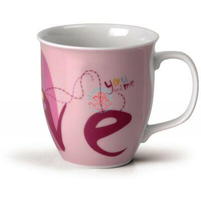Nici porcelán bögre Love rózsaszín