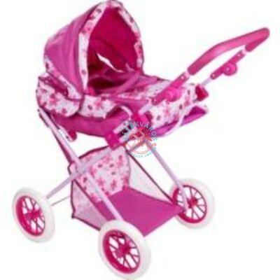 Játék Babakocsi Pink Virágmintás mozeskosárral