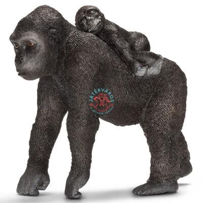 SCHLEICH Gorilla nőstény majom bébivel