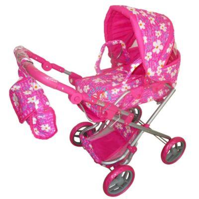 Játék babakocsi táskával rózsaszín virágos mintával