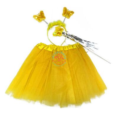 Tüll szoknya fejpánttal, sárga színű jelmez kiegészítő
