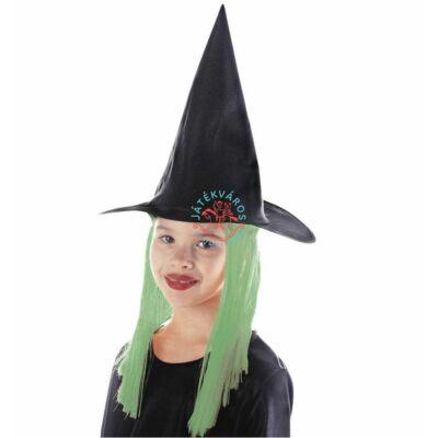 Boszi kalap zöld hajjal, jelmez kiegészítő