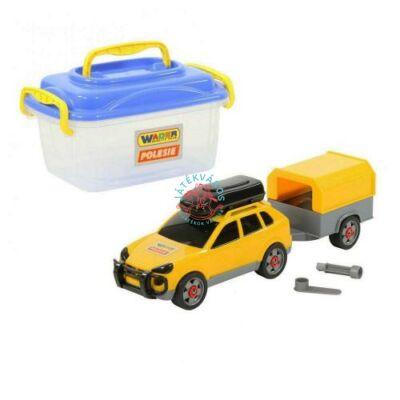 Összeszerelhető autó utánfutóval, dobozban