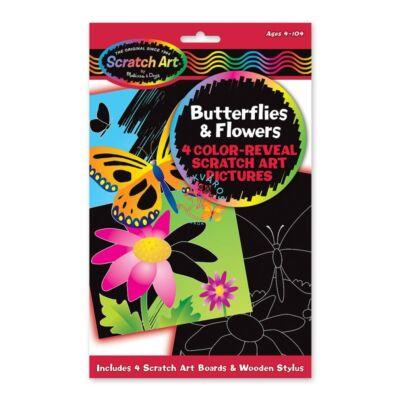 Melissa & Doug Kreatív játék:Képkarc-pillangók és virágok