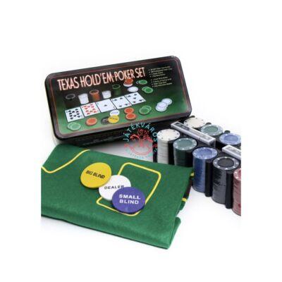 Póker készlet fém dobozban 200 zsetonnal