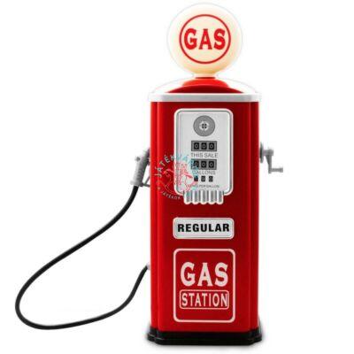 Baghera piros színű vintage stílusú fém töltőállomás benzinkút