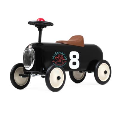 Baghera fekete színű Vintage stílusú lábbal hajtós fém versenyautó bébitaxi