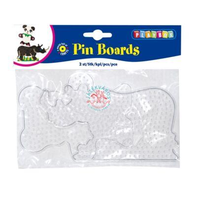 Playbox Forma vasalható gyöngyhöz, nagy méret, 2 db, átlátszó, maci-orrszarvú
