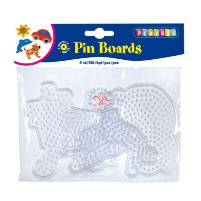 Playbox Forma vasalható gyöngyhöz, kis méret, 4 db, átlátszó, autó-kutya-delfin-nap