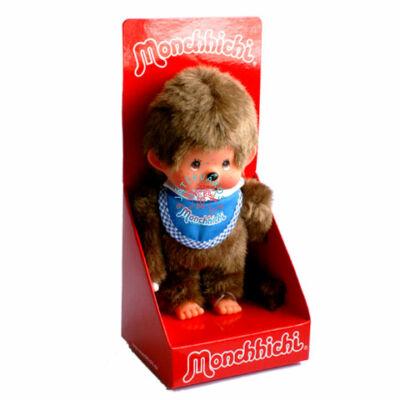 Monchhichi-Klasszikus fiú kék előkével 20 cm  plüss figura moncsicsi