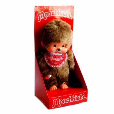 Monchhichi-Klasszikus fiú piros előkével 20 cm plüss figura Moncsicsi