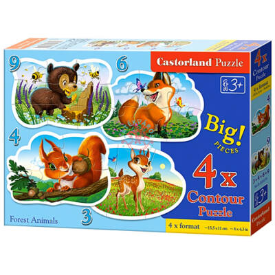 Erdei állatok 4 az 1-ben puzzle Castorland