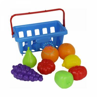 Játék élelmiszerkészlet kosárban, 9 darabos