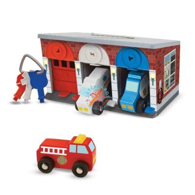 Melissa & Doug Fa garázs kulcsokkal