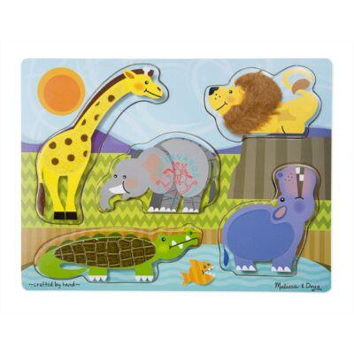 Melissa & Doug Fa tapintós puzzle,  állatkert