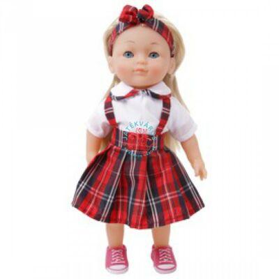 Magyarul éneklő Charlotte baba szőke kockás ruhában 36 cm